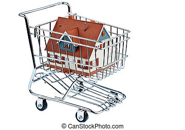 house in shopping cart - a model of a house in a shopping...