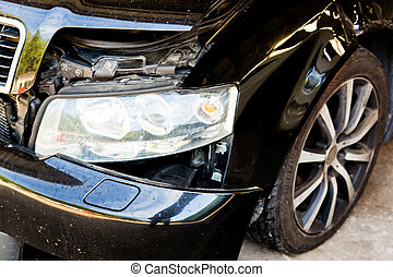 car with body damage after an accident