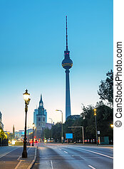 View to Karl Libknecht street in Berlin early in the morning