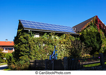 solar panels on a house - solar cells on a residential...