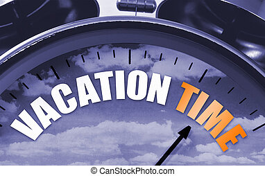 Vacation time concept on a clockface to symbolize that its...