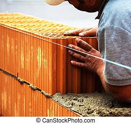 construção, trabalhador, ligado, Um,...