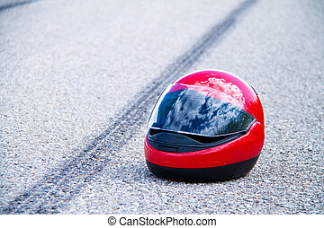 accident with motorcycle. traffic accident with skid marks -...