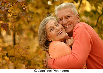 Old couple posing at autumn park - Happy old couple posing...