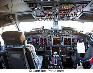 cockpit of an aircraft - empty cockpit of a passenger...