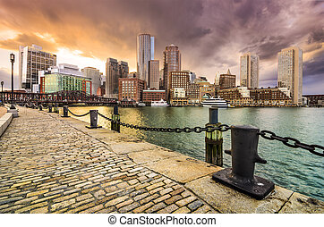 Boston, Massachusetts Skyline - Boston, Massachusetts, USA...