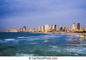 Tel Aviv, Israel Skyline on the Mediterranean.