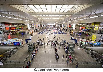 Shanghai, China Train Station - SHANGHAI, CHINA - JUNE 23,...