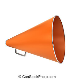Orange bullhorn 3d illustration isolated on white background...