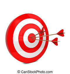 Arrows hit the target. 3d illustration isolated on white...