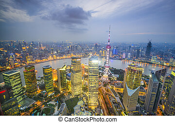 Shanghai, China City Skyline Aerial View - Shanghai, China...