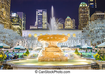 Bryant Park New York City - New York City cityscape at...