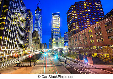 Lowe Manhattan Cityscape - New York City cityscape in Lower...