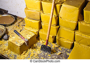 Blocks of Beeswax - Blocks of beeswax for candle making.