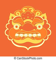 Traditional balinese mask Barong Vector EPS 10 hand drawn...
