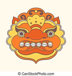 Traditional balinese mask. Barong. Vector EPS 10 hand drawn...
