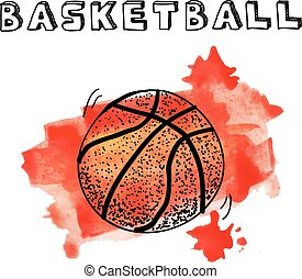 Doodle basketball on watercolor background