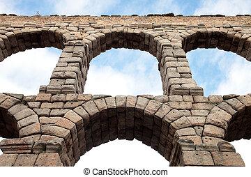 Aqueduct - an old stone aqueduct in Segovia, Spain