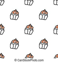 Seamless pattern with doodle cupcakes