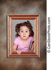 girl and framework - Girl with a funny expression within a...