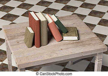 old book - 3d rendering of an old book on a table in a dirty...