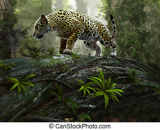 jaguar on the prowl, 3d CG - 3d CG graphics of a jaguar on...