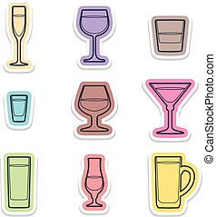 alcohol glasses labels icons