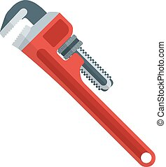 flat design red pipe wrench - vector outline flat style red...