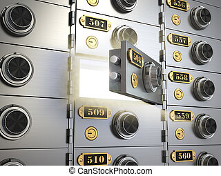 Safe deposit boxes in a bank vault Banking concept 3d