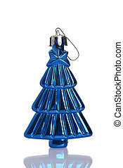 antique blue christmas tree ornament on white background