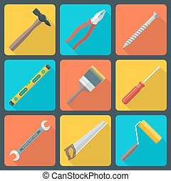 flat house remodel tools icons - vector various color flat...