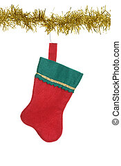 christmas stocking hanging on gold - isolated christmas...