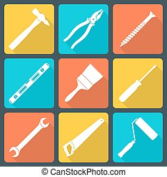 flat white house remodel tools icon - vector various white...