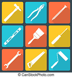 flat white house remodel tools icons - vector various white...