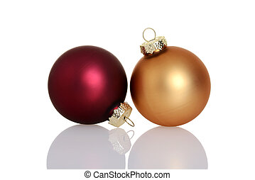 red and gold christmas ball ornaments with white background