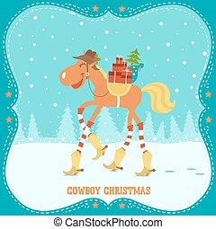 Christmas card with horse in cowboy hat and boots