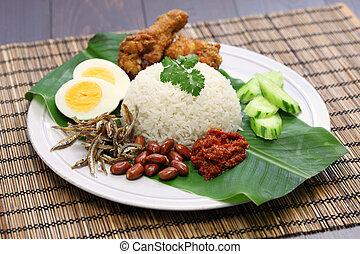 nasi lemak, malaysian coconut rice - nasi lemak, coconut...