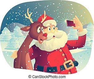 Santa Claus and Reindeer Selfie - Vector cartoon of Santa...