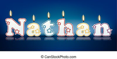 NATHAN written with burning candles - vector illustration
