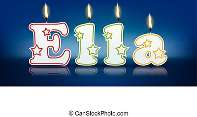 ELLA written with burning candles - vector illustration