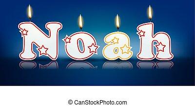 Noé, escrito, com, queimadura, velas,
