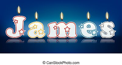 JAMES written with burning candles - vector illustration