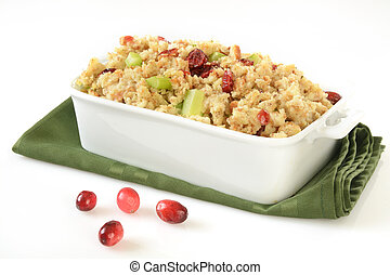 Cranberry stuffing - A baking dish of stuffing with...