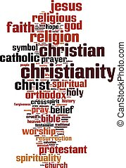 Christianity word cloud concept Vector illustration
