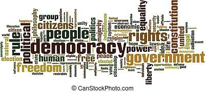 democracia, palabra, nube,