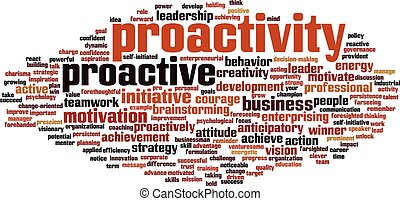 Proactivity word cloud concept Vector illustration
