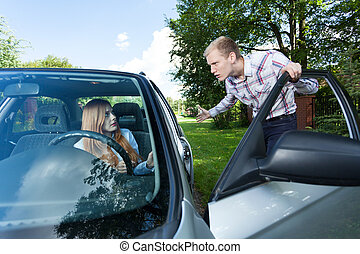 Man annoyed with female driver