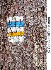 touristic, señal, en, el, árbol,