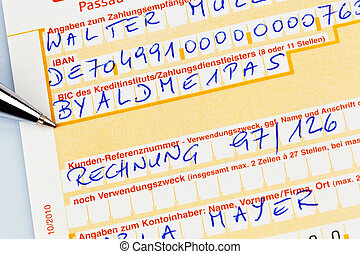 payment slip with iban number - a payment form for transfer...