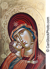 Painted icon of Virgin Mary and Jesus Christ. Painted Virgin...